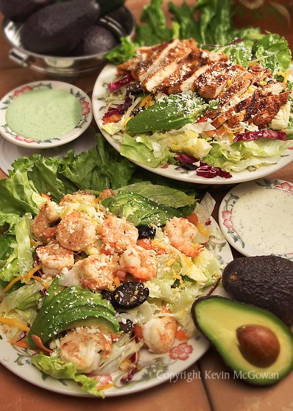 Grilled chicken salad and shrimp salad.