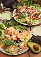 Grilled chicken salad and shrimp salad.