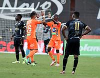 ENVIGADO - COLOMBIA, 18–10-2021: Yaser Aspilla de Envigado F. C., celebra el gol anotado a Aguilas Doradas Rionegro durante partido entre Envigado F. C. y Aguilas Doradas Rionegro de la fecha 14 por la Liga BetPlay DIMAYOR II 2021 en el estadio Polideportivo Sur de la ciudad de Envigado. / Yaser Aspilla of Envigado F. C., celebrates a scored goal to Aguilas Doradas Rionegro, during a match between Envigado F. C., and Aguilas Doradas Rionegro of the 14th date for the BetPlay DIMAYOR II League 2021 at the Polideportivo Sur stadium in Envigado city. / Photo: VizzorImage / Luis Benavides / Cont.