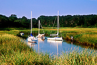 Sailboats anchared in a marsh inlet, Brewster, Cape Cod, MA