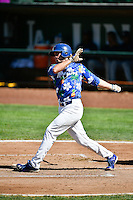 DJ Peters (27) of the Ogden Raptors at bat against the Helena Brewers in Pioneer League action at Lindquist Field on July 16, 2016 in Ogden, Utah. Ogden defeated Helena 5-4. (Stephen Smith/Four Seam Images)