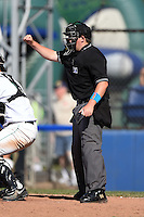 Home plate umpire Dave Albertson makes a call during a game between the Mahoning Valley Scrappers and Jamestown Jammers  on June 15, 2014 at Russell Diethrick Park in Jamestown, New York.  Jamestown defeated Mahoning Valley 9-4.  (Mike Janes/Four Seam Images)