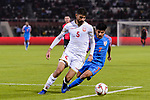 Hamad Mahmood Alshamsan of Bahrain (L) competes for the ball with Anirudh Thapa of India during the AFC Asian Cup UAE 2019 Group A match between India (IND) and Bahrain (BHR) at Sharjah Stadium on 14 January 2019 in Sharjah, United Arab Emirates. Photo by Marcio Rodrigo Machado / Power Sport Images