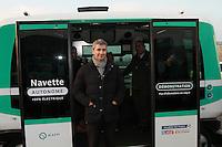 Christophe Najdovski chargÈ des transports .Navettes autonomes RATP lancement d'une expÈrimentation pont de Charles de Gaulle Paris 23/01/2017