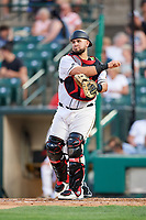 Rochester Red Wings catcher Juan Graterol (52) throws down to third base after a strikeout during a game against the Lehigh Valley IronPigs on June 30, 2018 at Frontier Field in Rochester, New York.  Lehigh Valley defeated Rochester 6-2.  (Mike Janes/Four Seam Images)