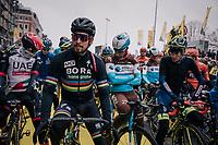 the competition checking out World Champion Peter Sagan's (SVK/Bora-Hansgrohe) new golden bike on the start line<br /> <br /> 102nd Ronde van Vlaanderen 2018 (1.UWT)<br /> Antwerpen - Oudenaarde (BEL): 265km
