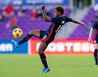 ORLANDO, FL - FEBRUARY 21: Crystal Dunn #19 of the USWNT controls the ball during a game between Brazil and USWNT at Exploria Stadium on February 21, 2021 in Orlando, Florida.