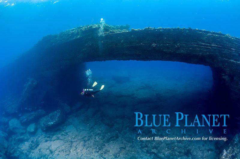 scuba diver at Niihau Arches dive site, Lehua Rock, Niihau, Hawaii, USA, Pacific Ocean, MR