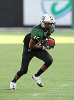 Miami Central Rockets wide receiver Damonte Davis #10 runs up field after a reception during the fourth quarter of the Florida High School Athletic Association 6A Championship Game at Florida's Citrus Bowl on December 17, 2011 in Orlando, Florida.  Armwood defeated Miami Central 40-31.  (Mike Janes/Four Seam Images)