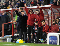 Pictured L-R: Swansea manager Brendan Rodgers, assistant Colin Pascoe and Ryland Morgans. Saturday 07 January 2012<br /> Re: FA Cup football Barnsley FC v Swansea City FC at the Oakwell Stadium, south Yorkshire.