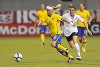 Sara Thunebro #6, Heather O'Reilly...USWNT tied Sweden 1-1 at Morrison Stadium, Omaha Nebraska.