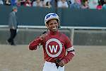 Jockey Ricardo Santana, Jr. is all smiles after winning aboard #2 Tapiture in the Southwest Stakes (Grade III) at Oaklawn Park in Hot Springs, Arkansas on February 17, 2014. (Credit Image: © Justin Manning/Eclipse/ZUMAPRESS.com)