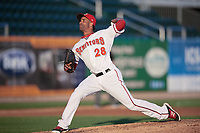 Harrisburg Senators relief pitcher Braulio Lara (28) delivers a pitch during a game against the Bowie Baysox on May 16, 2017 at FNB Field in Harrisburg, Pennsylvania.  Bowie defeated Harrisburg 6-4.  (Mike Janes/Four Seam Images)