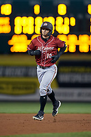 Altoona Curve Hunter Owen (10) rounds the bases after hitting a home runduring an Eastern League game against the Erie SeaWolves on June 3, 2019 at UPMC Park in Erie, Pennsylvania.  Altoona defeated Erie 9-8.  (Mike Janes/Four Seam Images)