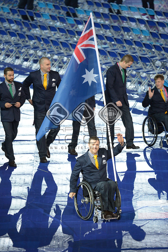 Greg Smith Flag Bearer  (AUS)<br /> Opening Ceremony (Wednesday 29th Aug)<br /> Opening Ceremony London<br /> Paralympics - Summer / London 2012<br /> London England 29 Aug - 9 Sept <br /> © Sport the library/Courtney Crow