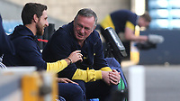 Stoke City Manager, Michael O'Neill chats with Joe Allen of Stoke City and Wales ahead of kick-off during Millwall vs Stoke City, Sky Bet EFL Championship Football at The Den on 12th September 2020