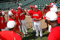 The National team have a pre-game meeting during the Under Armour All-American Game at Wrigley Field on August 13, 2011 in Chicago, Illinois.  (Mike Janes/Four Seam Images)