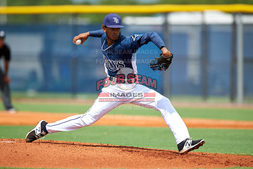 GCL Rays starting pitcher Miguel Lara (45) delivers a pitch during the first game of a doubleheader against the GCL Twins on July 18, 2017 at Charlotte Sports Park in Port Charlotte, Florida.  GCL Twins defeated the GCL Rays 11-5 in a continuation of a game that was suspended on July 17th at CenturyLink Sports Complex in Fort Myers, Florida due to inclement weather.  (Mike Janes/Four Seam Images)