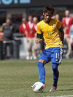 Brazil forward Neymar (11) short pass. In an international friendly (Clash of Titans), Argentina defeated Brazil, 4-3, at MetLife Stadium on June 9, 2012.