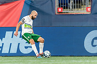 FOXBOROUGH, MA - AUGUST 26: Tyler Polak #3 of Greenville Triumph SC passes the ball during a game between Greenville Triumph SC and New England Revolution II at Gillette Stadium on August 26, 2020 in Foxborough, Massachusetts.