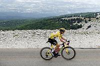 yellow jersey / GC Leader Tadej Pogacar (SVN/UAE-Emirates) on the Mont Ventoux<br /> <br /> Stage 11 from Sorgues to Malaucène (198.9km)<br /> 108th Tour de France 2021 (2.UWT)<br /> <br /> ©kramon