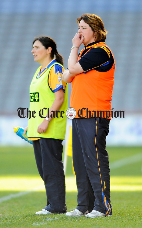 Clare manager Deirdre Murphy can only look on as her team are beaten by Tipperary during the closing moments of the Intermediate Ladies Football final at Croke Park. Photograph by John Kelly.