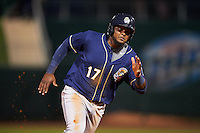 San Antonio Missions third baseman Duanel Jones (17) running the bases during a game against the NW Arkansas Naturals on May 30, 2015 at Arvest Ballpark in Springdale, Arkansas.  San Antonio defeated NW Arkansas 5-2.  (Mike Janes/Four Seam Images)