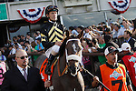 June 8, 2013. Belmont contender Oxbow, Gary Stevens up, enters the track for the post parade. Palace Malice, Mike Smith up, wins the Belmont Stakes at Belmont Park, Elmont, New York. Trainer is Todd Pletcher (Joan Fairman Kanes/Eclipse Sportswire)