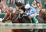 "September 06, 2014:   Lucky Player and Ricardo Santana Jr. win the 33rd running of the Iroquois Grade 3 $100,000 ""Win and your in Juvenile Division"" Breeders Cup prep race for owner Jerry Durant and trainer Steve Asmussen.  Candice Chavez/ESW/CSM"