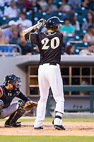 Jordan Danks (20) of the Charlotte Knights at bat against the Scranton/Wilkes-Barre RailRiders at BB&T Ballpark on July 17, 2014 in Charlotte, North Carolina.  The Knights defeated the RailRiders 9-5.  (Brian Westerholt/Four Seam Images)