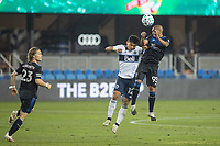 SAN JOSE, CA - OCTOBER 07: Judson #93 of the San Jose Earthquakes and Fredy Montero #12 of the Vancouver Whitecaps battle for the ball during a game between Vancouver Whitecaps and San Jose Earthquakes at Eathquakes Stadium on October 07, 2020 in San Jose, California.