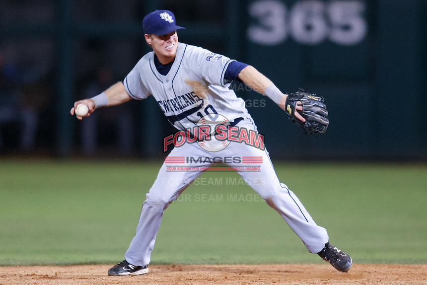 Chase Lambin (10) in action during the MiLB matchup between the New Orleans Zephyrs and the Oklahoma City Redhawks at Chickasaw Bricktown Ballpark on June 10th, 2012 in Oklahoma City, Oklahoma. The Redhawks defeated the Zephyrs 12-9  (William Purnell/Four Seam Images)