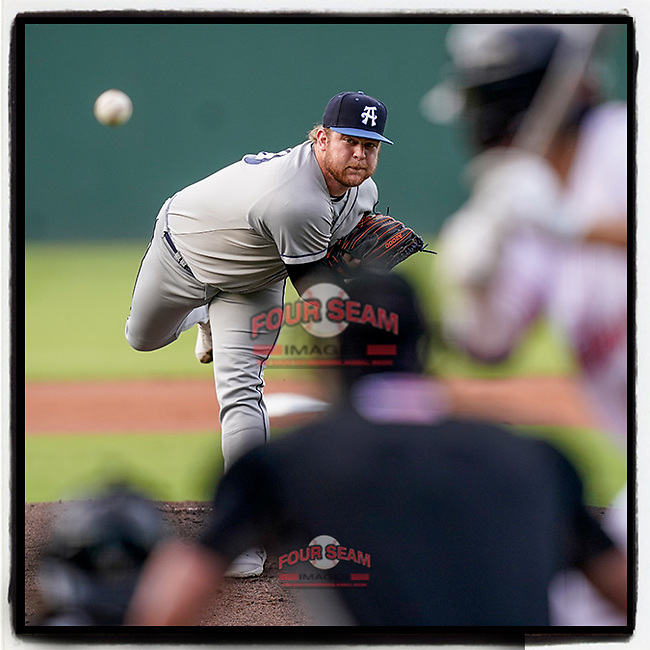 Pitcher Tyler Brown (10) of the Asheville Tourists, a 2020 third-round draft pick from Vanderbilt, pitches in a game against the Greenville Drive on Tuesday, June 1, 2021, at Fluor Field at the West End in Greenville, South Carolina. (Tom Priddy/Four Seam Images) #MiLB #baseball