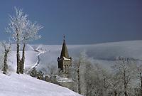 Europe/France/Auvergne/43/Haute-Loire/Chaudeyrolles: L'église de style roman sous la neige
