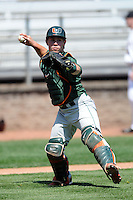 University of Miami Hurricanes catcher Roger Gonzalez #0 prior to a game versus the Boston College Eagles at Shea Field in Chestnut Hill, Massachusetts on April 26, 2013.  (Ken Babbitt/Four Seam Images)