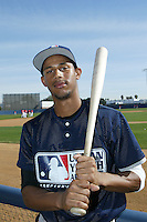 February 10 2008: Aaron Hicks participates in a MLB pre draft workout for high school players at the Urban Youth Academy in Compton,CA.  Photo by Larry Goren/Four Seam Images