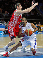 French national basketball team player Tony Parker fights for the ball with Russian Fridzon Vitaliy during semifinal basketball game between France and Russia in Kaunas, Lithuania, Eurobasket 2011, Friday, September 16, 2011. (photo: Pedja Milosavljevic)