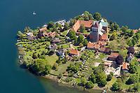 Blick auf die Nordspitze der Altstadtinsel von Ratzeburg im Bundesland Schleswig-Holstein.