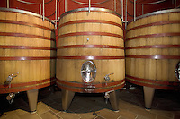 """Switzerland. Canton Ticino. Ligornetto. Firm """"Vinattieri Ticinesi"""", owned by Luigi Zanini, wine grower and producer. The wood tubs are used for winemaking the last harvested grapes (2007 red Merlot) from the best wines.   © 2008 Didier Ruef"""