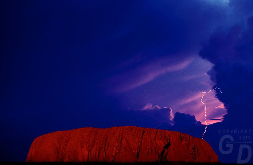 Lightning over Ayers Rock, Australia