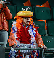 20160302 – DEN HAAG ,  NEDERLAND : Dutch holland cheese fan pictured during the Olympic Qualification Tournament  soccer game between the women teams of Switzerland and The Netherlands, The first game for both teams in the Olympic Qualification Tournament for the Olympic games in Rio de Janeiro - Brasil, Wednesday 2 March 2016 at Kyocera Stadium in The Hague , Netherlands  PHOTO DAVID CATRY