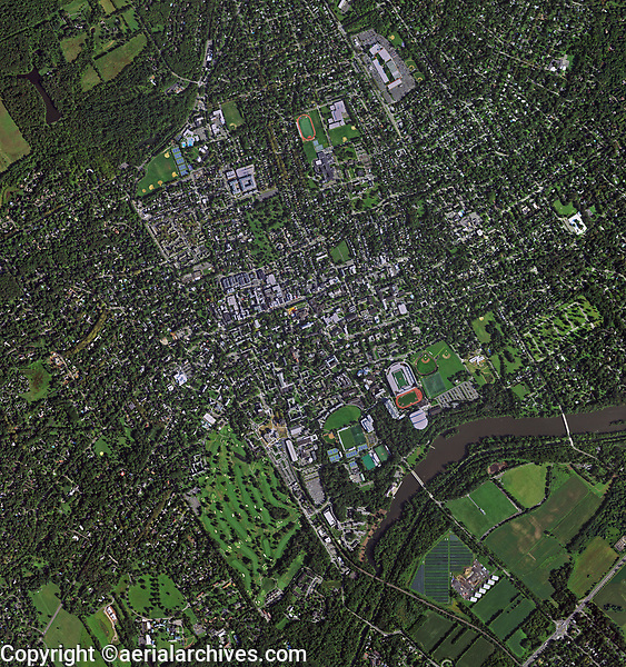 aerial photo map of Princeton University, Princeton, Mercer County, New Jersey