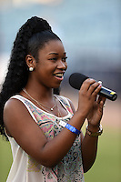 Tampa Yankees national anthem singer Cheyenne Roberts before a game against the Daytona Tortugas on April 24, 2015 at George M. Steinbrenner Field in Tampa, Florida.  Tampa defeated Daytona 12-7.  (Mike Janes/Four Seam Images)