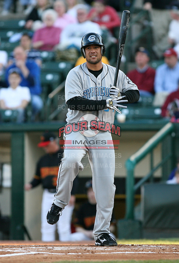 2007:  John Hattig of the Syracuse Chiefs between pitches during an at bat vs. the Rochester Red Wings in International League baseball action.  Photo By Mike Janes/Four Seam Images