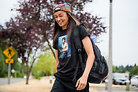 TACOMA, WA - JULY 31: Phallon Tullis-Joyce #91 of the OL Reign arrives at the stadium before a game between Racing Louisville FC and OL Reign at Cheney Stadium on July 31, 2021 in Tacoma, Washington.