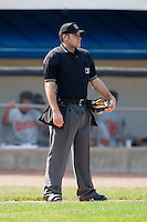 Home plate umpire Ben Leake between innings of the Appalachian League game between the Bluefield Orioles and the Princeton Rays at Hunnicutt Field July 4, 2010, in Princeton, West Virginia.  Photo by Brian Westerholt / Four Seam Images