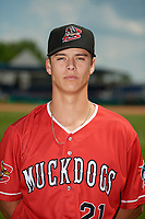 Batavia Muckdogs Eli Villalobos (21) poses for a photo before a NY-Penn League game against the State College Spikes on July 3, 2019 at Dwyer Stadium in Batavia, New York.  State College defeated Batavia 6-4.  (Mike Janes/Four Seam Images)
