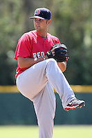 Boston Red Sox minor league player Hunter Cervenka during a spring training game vs the Baltimore Orioles at the Buck O'Neil Complex in Sarasota, Florida;  March 22, 2011.  Photo By Mike Janes/Four Seam Images