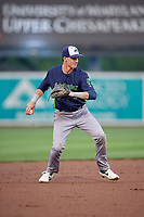 Vermont Lake Monsters shortstop Logan Davidson (3) throws to first during a NY-Penn League game against the Aberdeen IronBirds on August 19, 2019 at Leidos Field at Ripken Stadium in Aberdeen, Maryland.  Aberdeen defeated Vermont 6-2.  (Mike Janes/Four Seam Images)