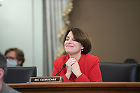 United States Senator Amy Klobuchar (Democrat of Minnesota) speaks during a United States Senate Committee on Commerce, Science, and Transportation oversight hearing to examine the Federal Communications Commission in Washington, DC on June 24, 2020. <br /> Credit: Jonathan Newton / Pool via CNP/AdMedia